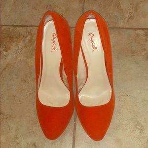 Orange nubuck heels